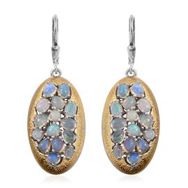 GP Ethiopian Welo Opal (Ovl), Kanchanaburi Blue Sapphire Lever Back Earrings in Platinum and Yellow Gold Overlay Sterling Silver 3.250 Ct.