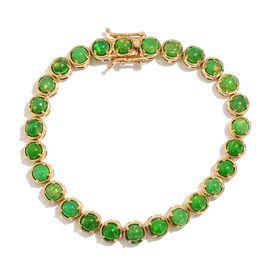 Green Ethiopian Opal (Rnd) Bracelet in 14K Gold Overlay Sterling Silver (Size 7.5) 7.000 Ct.