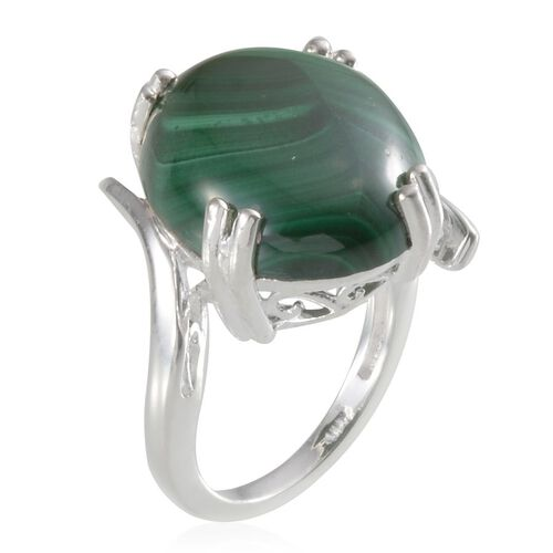 Malachite (Ovl) Ring in Sterling Silver 18.000 Ct.