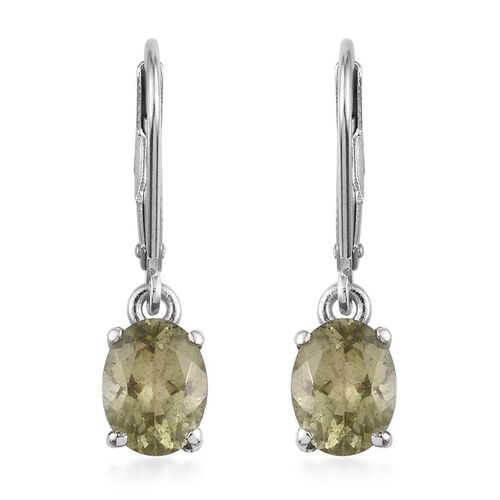 Natural Canary Apatite (Ovl) Lever Back Earrings in Platinum Overlay Sterling Silver 2.000 Ct.