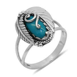 Royal Bali Collection Arizona Sleeping Beauty Turquoise (Ovl) Solitaire Ring in Sterling Silver 1.490 Ct.