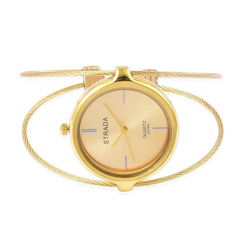 STRADA Japanese Movement Bangle Watch in Yellow Gold Tone with Stainless Steel Back