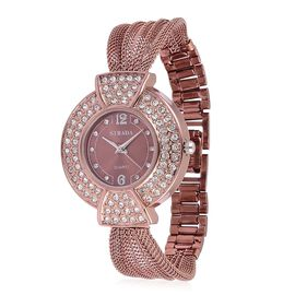 STRADA Japanese Movement Sunshine Pattern Dial with White Austrian Crystal Studded Water Resistant Watch in Rose Gold Tone with Stainless Steel Back