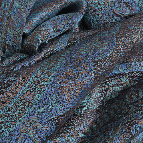 SILK MARK - 100% Superfine Silk Dutch Blue, Black and Multi Colour Paisley and Floral Pattern Jacquard Jamawar Stole with Fringes at the Bottom (Size 170x35 Cm)