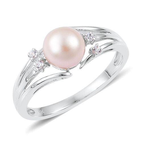 9K W Gold Japanese Akoya Pearl (Rnd), White Zircon Ring