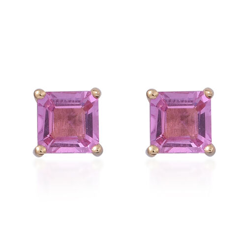 ILIANA 18K Yellow Gold 1 Carat Pink Sapphire Square Solitaire Stud Earrings with Screw Back.