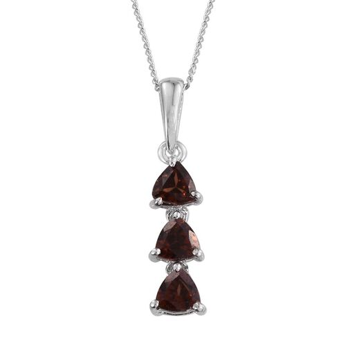 AA Mocha Zircon (Trl) Trilogy Pendant With Chain in Platinum Overlay Sterling Silver 1.150 Ct.