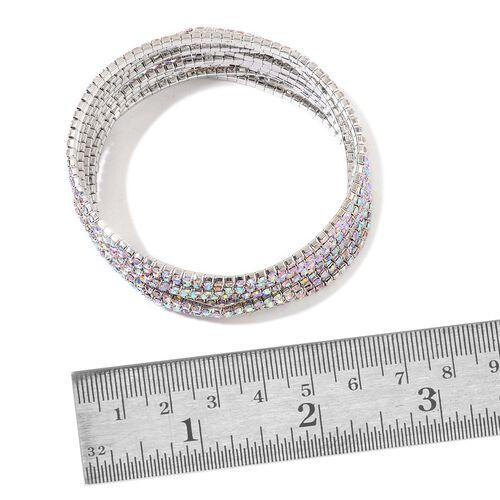 Set of 10 - Designer Inspired - AB Colour Crystal Stretchable Bracelet (Size 7.5) in Silver Tone