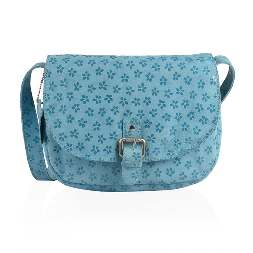 LIMITED STOCK Genuine Leather RFID Blocker Floral Pattern Blue Colour Sling Bag with External Zipper Pocket and Adjustable Shoulder Strap (Size 25X19X7 Cm)