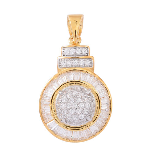 ELANZA AAA Simulated White Diamond (Rnd) Pendant in 14K Gold Overlay Sterling Silver