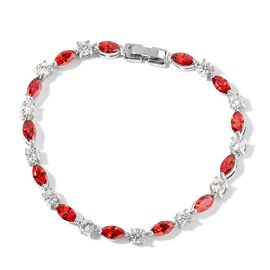 AAA Simulated Ruby and Simulated White Diamond Bracelet (Size 7.5) in Silver Tone