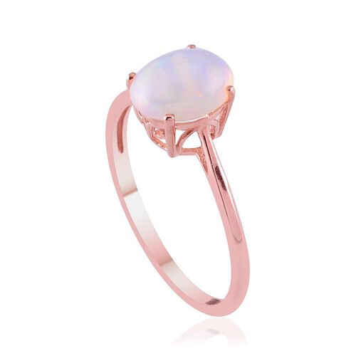 Ethiopian Welo Opal (Ovl) Solitaire Ring in Rose Gold Overlay Sterling Silver 1.250 Ct.