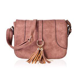 Chocolate Colour Medium Size Crossbody Saddle Bag With Adjustable Shoulder Strap (Size 25x19x8 Cm)