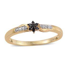 Black Diamond (Rnd), White Diamond Floral Ring in 14K Gold Overlay Sterling Silver 0.100 Ct.