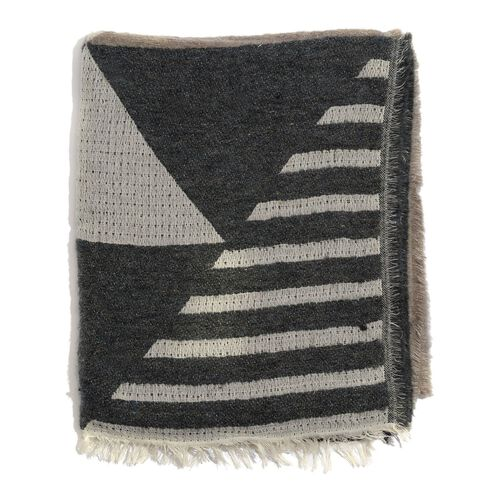 WINTER SPECIAL Mohair, Acro and Cotton Black, Cream and Chocolate Colour Stripy Pattern Scarf (Size 185x75 Cm)