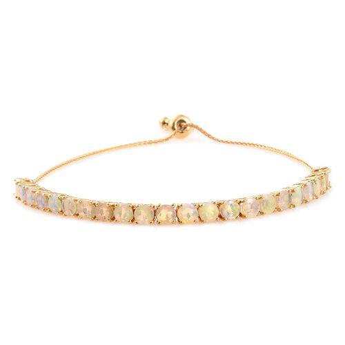 Ethiopian Welo Opal (Rnd) Adjustable Bracelet (Size 6.5 to 8) in 14K Gold Overlay Sterling Silver 3.500 Ct.