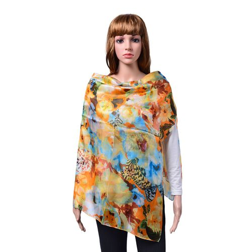 100% Mulberry Silk Orange, Blue and Multi Colour Butterfly Pattern Scarf (Size 180x110 Cm)