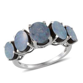 Australian Boulder Opal (Ovl 1.00 Ct) 5 Stone Ring in Platinum Overlay Sterling Silver 3.750 Ct.