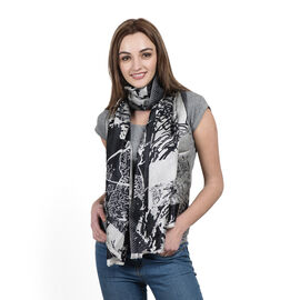 100% Superfine Silk Black and Silver Colour Jacquard Jamawar shawl (Size 180x70 Cm) (Weight 125-140 Grams)