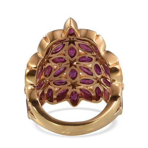 Stefy African Ruby (Mrq), Natural Cambodian Zircon and Pink Sapphire Floral Ring in 14K Gold Overlay Sterling Silver 6.250 Ct.