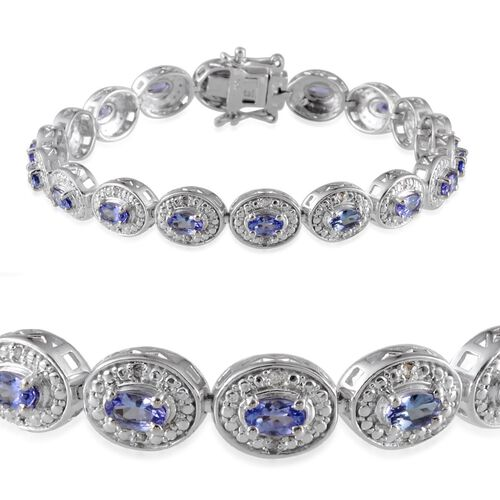 AA Tanzanite (Ovl), Diamond Bracelet (Size 7) in Platinum Overlay Sterling Silver 4.560 Ct.