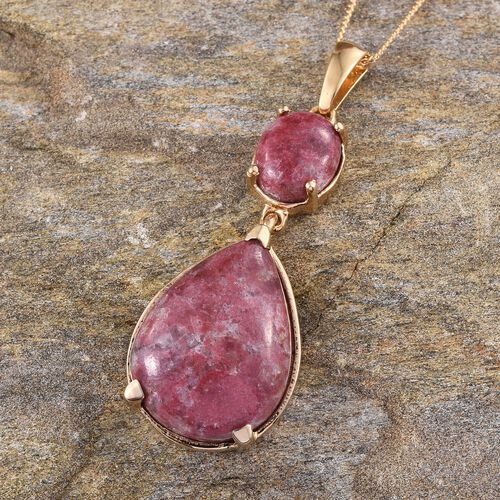 Norwegian Thulite (Pear 16.00 Ct) Pendant With Chain in 14K Gold Overlay Sterling Silver 19.000 Ct.
