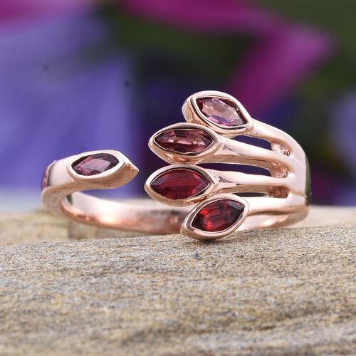 Mahenge Spinel (Mrq) Open Ring in Rose Gold Overlay Sterling Silver 0.750 Ct.