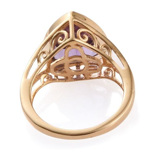 AA Lusaka Amethyst (Trl) Solitaire Ring in 14K Gold Overlay Sterling Silver 4.000 Ct.