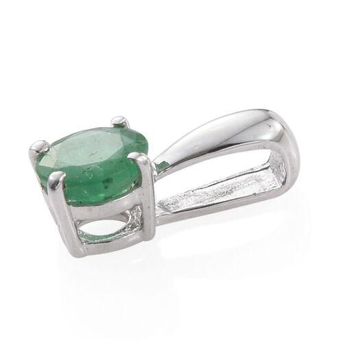 Zambian Emerald 0.50 Carat Silver Solitaire Pendant in Platinum Overlay