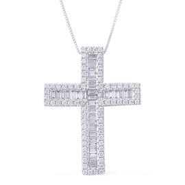 ILIANA 18K W Gold IGI Certified Diamond (Bgt) (SI/G-H) Cross Pendant With Chain 1.000 Ct.