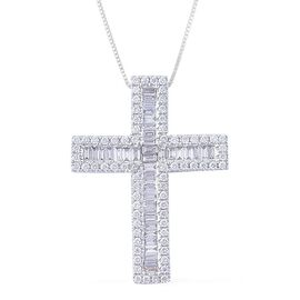 ILIANA 18K W Gold IGI Certified Diamond (Bgt) (SI/ G-H) Cross Pendant With Chain 1.000 Ct.