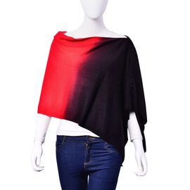 Red and Black Colour Poncho with Button (Size 140x40 Cm)