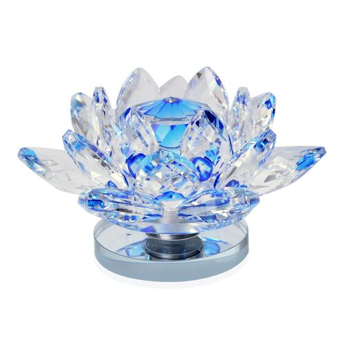 Fantasy Collection - Hand Crafted AAA Blue Austrian Crystal and Faceted Glass Rotating Base Lotus  With a Gift Box.