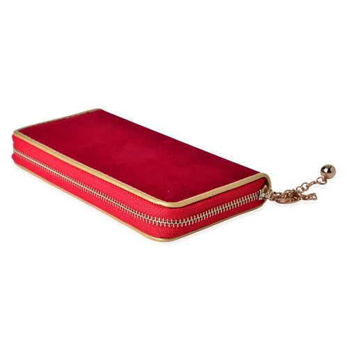 Red Velvet Wallet with Gold Frame (Size 19.5x9.5x3 Cm)