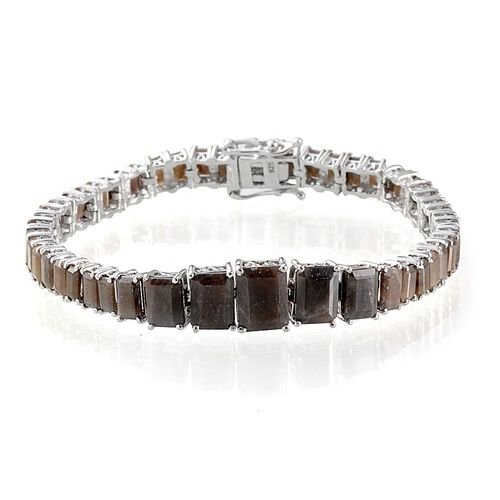 Chocolate Sapphire (Oct 3.00 Ct) Bracelet in Platinum Overlay Sterling Silver (Size 7.5) 27.000 Ct.