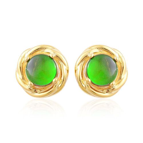 Canadian Ammolite (Rnd) Stud Earrings (with Push Back) in Yellow Gold Overlay Sterling Silver 1.650 Ct.