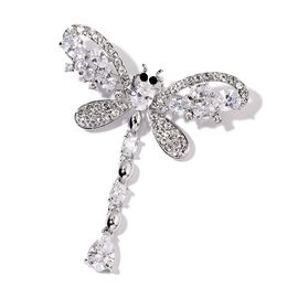 AAA Simulated White Diamond, White and Black Austrian Crystal Dragonfly Brooch in Silver Tone