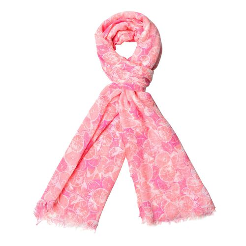 Summer Collection-Pink Colour Scarf with Cream Colour Section Pattern (Size 180x90 Cm)
