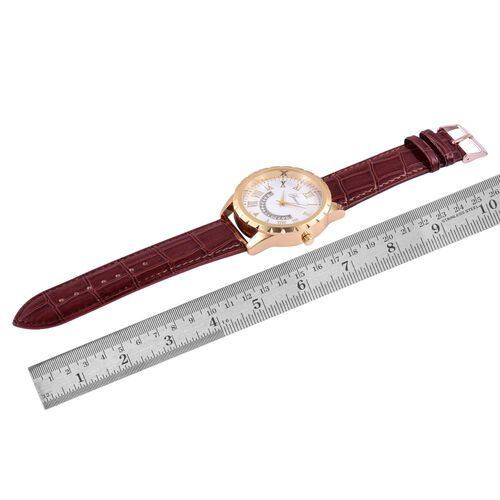 GENOA Japanese Movement White Dial Water Resistant Watch in Gold Tone with Stainless Steel Back and Chocolate Colour Strap