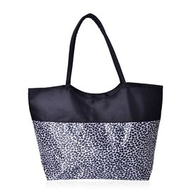 Leopard Pattern Black and White Colour Tote Bag (Size 52X38X32X15.5 Cm)