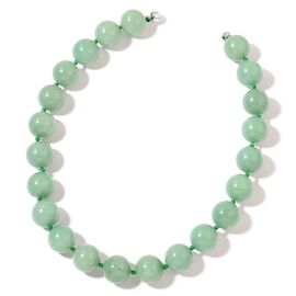 Green Aventurine Necklace (Size 20) in Rhodim Plated Sterling Silver 1218.000 Ct.