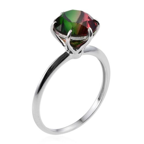 Bi-Color Tourmaline Quartz (Rnd) Solitaire Ring in Platinum Overlay Sterling Silver 4.250 Ct.