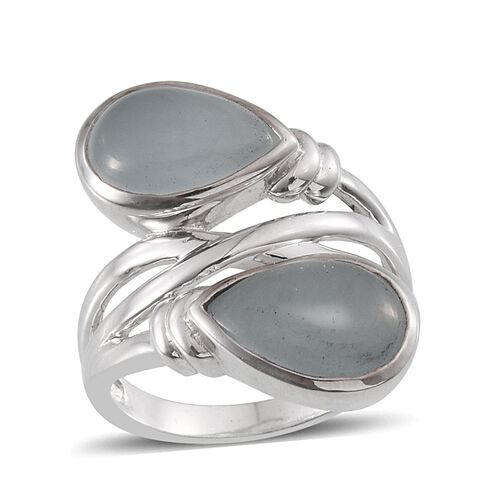 Espirito Santo Aquamarine (Pear) Crossover Ring in Platinum Overlay Sterling Silver 6.500 Ct.