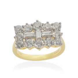 ILIANA 18K Y Gold IGI Certified Diamond (Bgt) (SI/ G-H) Boat Cluster Ring 2.000 Ct.