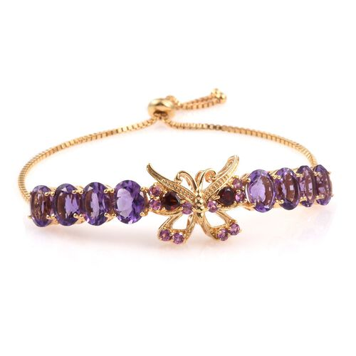 GP Amethyst (Ovl), Kanchanaburi Blue Sapphire, Mozambique and Rhodolite Garnet Butterfly Adjustable Bracelet (Size 6 to 9 Inch) in 14K Gold Overlay Sterling Silver 14.000 Ct.