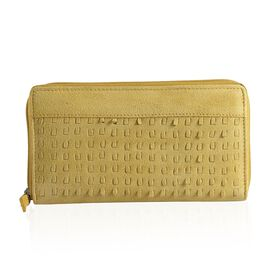 Genuine Leather Mustard Colour Cut Work Wallet