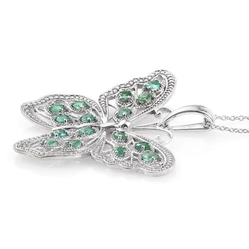 Limited Available AAA Kagem Zambian Emerald (Rnd) Butterfly Pendant With Chain (Size 30) in Platinum Overlay Sterling Silver 2.500 Ct.