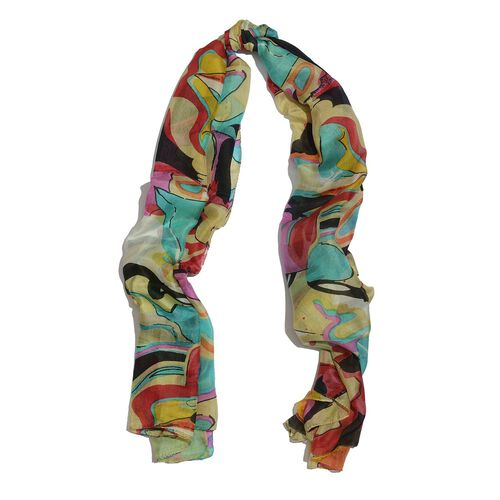 100% Mulberry Silk Multi Colour Abstract Pattern Scarf (Size 175x110 Cm)