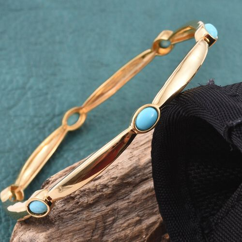 Kingman Turquoise (Ovl) Bangle (Size 7.5) in ION Plated 18K Yellow Gold Bond 2.750 Ct.