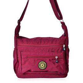 Designer Inspired Burgundy Colour Waterproof Crossbody Bag with External Zipper Pocket and Adjustable Shoulder Strap (Size 27x22.5x10 Cm)